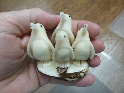 (TNE-PEN-118-B) Penguin FAMILY bird TAGUA NUT figurine carving penguins Happy