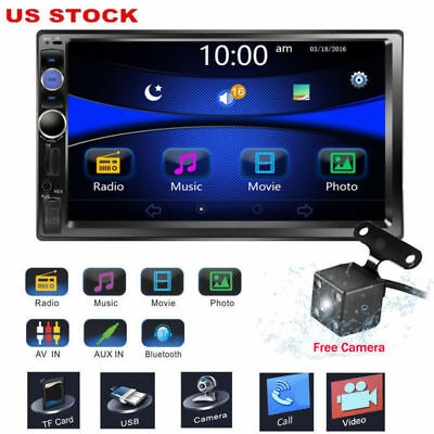 """7"""" Double 2DIN Car MP5 Player Bluetooth Touch Screen Stereo Radio FM USB Camera"""
