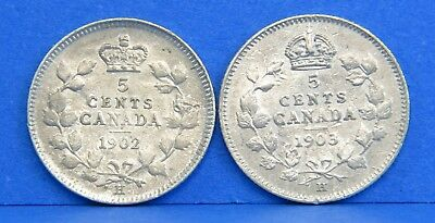 """1902 1903 H Edward VII Silver Canadian 5 Cents Coin Lot BU Large """"H"""""""