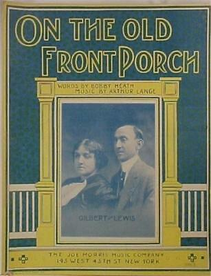 Antique Sheet Music On The Old Front Porch 1913 Great Cover To Frame