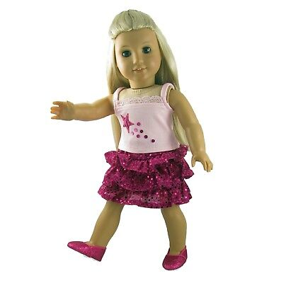 Doll Clothes Fuschia Sequin Skirt Set 3 Piece fits 18 inch American Girl