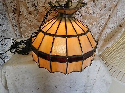 Vintage  Stained Slag Glass Hanging Swag Ceiling Light Chandelier Lamp ~FREE SH~