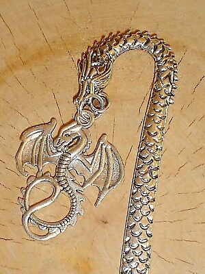 Vintage Style Dragon Skin Scales Charm Bookmark Silver