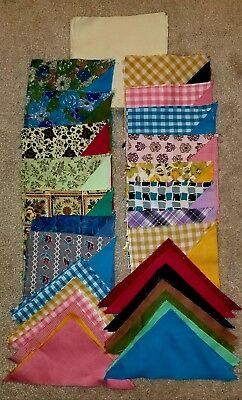 123 Pc Vintage Cotton Muslin + Print Quilt Blocks & Triangles