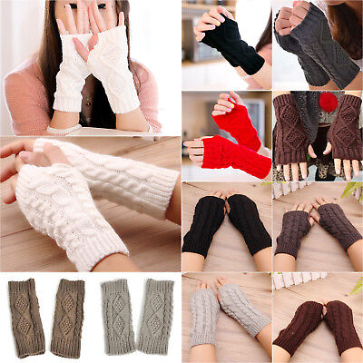 Unisex Womens Knitted Fingerless Half Finger Gloves Thumb Hole Wrist Hand Warmer