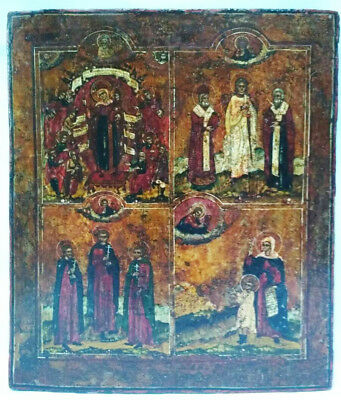 Antique 19th C Russian Hand Painted Four Parts Wooden Icon