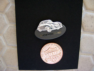 Porsche Official Dealer Issued 356 Gmund Coupe Lapel Pin Silver Rhodium Nib.