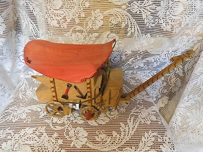 "VTG HANDCRAFTED WESTERN FOLK ART WOODEN STAGE COACH COVERED WAGON LAMP 12""Lx9""H"