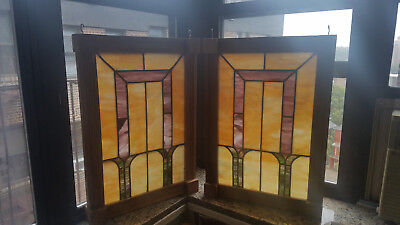 Matching Set of Stained Glass Windows in Frame