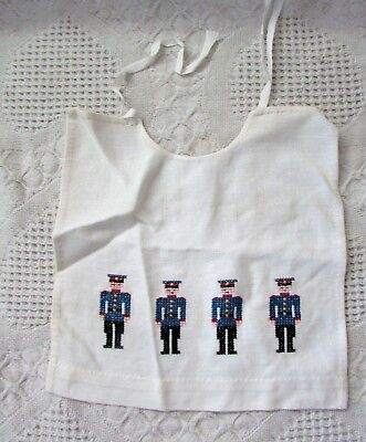 Vintage Needlepoint Baby Bib With Police Men On It, Estate Find