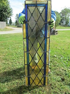 Vtg Stained Glass Church Window 48 X 14 Inches Amber, Gold & Blue #4 nr