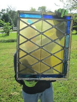 Vtg Stained Glass Church Vent Window 21.5 X 17 Inches Amber, Gold & Blue #10 nr