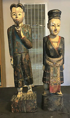 2 Burmese Carvings Of A Hill Tribe Couple