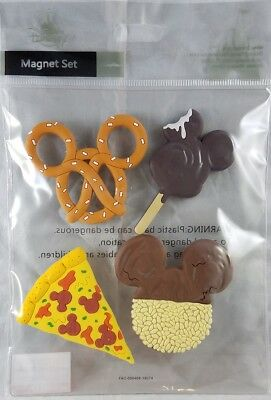 Disney Parks Food Dessert Mickey Mouse Magnet Set of 4 PVC Pretzel Pizza - NEW