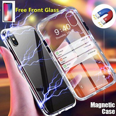 Slim Shokcproof Magnetic Metal Bumper Glass Case Cover for iPhone XS Max XR X