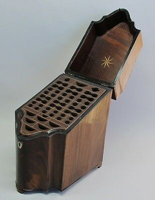 Fine 18th C. American Inlaid Mahogany Knife Box w/ Inserts  c. 1780   antique
