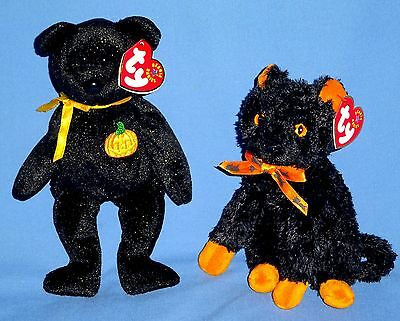 TY BEANIE BABIES:BLACK BEAR-HAUNT;BLACK CAT-FRAIDY;plush/soft;Halloween gifts