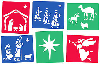 6 Piece Christmas Nativity Stencil Set For Snow Spray Wise Men Manger Angel Star