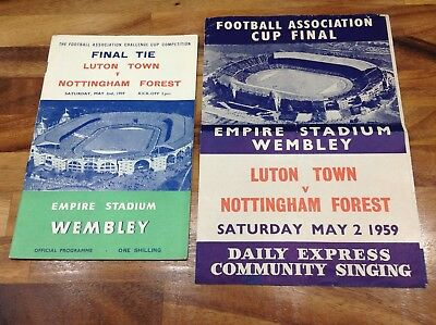 1959 Fa Cup Final Programme And Songsheet Luton Town V Nottingham Forest Vgc