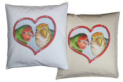 Adorable Lovebird Pet Bird Themed Cotton Cushion Cover in either Cream or White