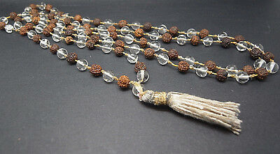 Antique Pools Light Rock Crystal Bead Rudraksha Necklace Buddhist Chinese Rosary