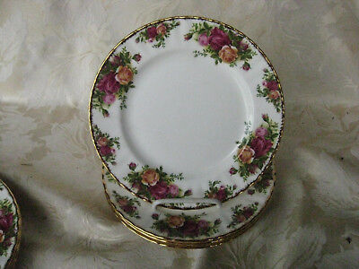 """Beautiful Set of 4 Royal Albert Old Country Roses Salad Plates 8"""" Wide"""