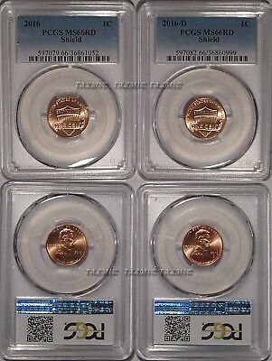 2016 P & D Lincoln SHIELD Cent 2 Coin Set 1c PCGS MS66RD