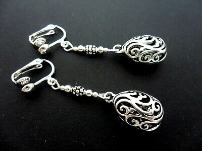 A Pair Of Tibetan Silver  Dangly Filigree Clip On Earrings. New.