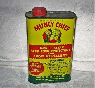 Vintage MUNCY CHIEF SEED CORN TIN Crow Repellent INDIAN HEAD USA