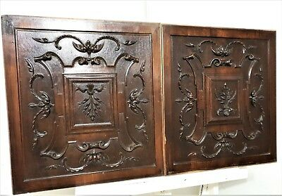 Pair horn scroll leaves wood panel Antique french gothic architectural salvage