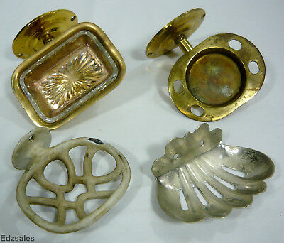 3 Vintage Wall Mount Soap Dishes and Brass Soap Toothbrush Holder