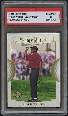 Tiger Woods 2001 01 Upper Deck Victory 1St Graded 10 Rookie Card Rc Masters Golf