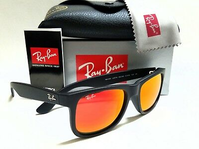 a8a804c8bd Authentic Ray-Ban Justin RB4165 622 6Q Rubber Black Orange Mirror Lenses  51mm