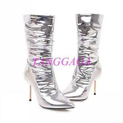 Shiny Patent New Clubwear Pointed Toe Mid-Calf Boots Sexy Womens Stiletto Shoes