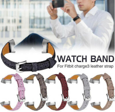 Replacement Leather Band Strap Bracelet Wristband for Fitbit Charge 3 Smartwatch
