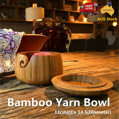 Wooden Bamboo Yarn Bowl Holder Storage Lid Cover Skeins Knitting Crochet AUS