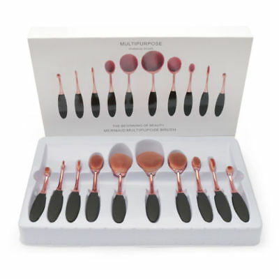 10Pcs Rose Gold Pro Beauty Toothbrush Shaped Oval Cream Puff Makeup Brushes Set