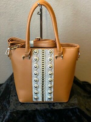 TanBucket tote wit gold medallions/silver jeweled middle front, with extra strap