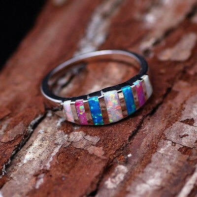 Women Gorgeous 925 Silver Filled Wedding Rings Multi-color Opal Ring Size 6-10