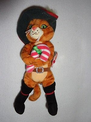 2008 Ty Beanie Babies Shrek The Halls Christmas Candy Cane Puss N Boots Soft Toy