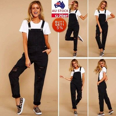 Womens Ripped Bib Denim Jeans Jumpsuit Ladies Full Length Overall Dungaree Pants