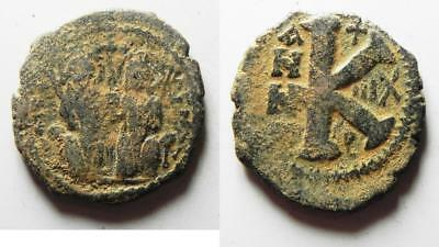 ZURQIEH -as8172- BYZANTINE EMPIRE. JUSTIN II & SOPHIA BRONZE HALF FOLLIS