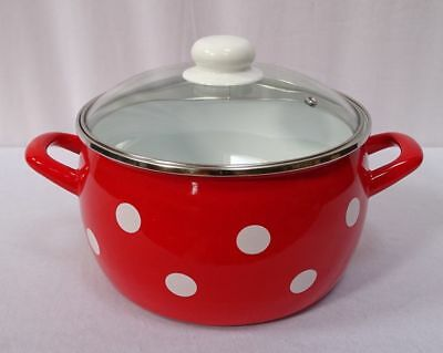G1599: Nostalgia Enamel Saucepan with Glass Cover, Spots Red White 4 Liter