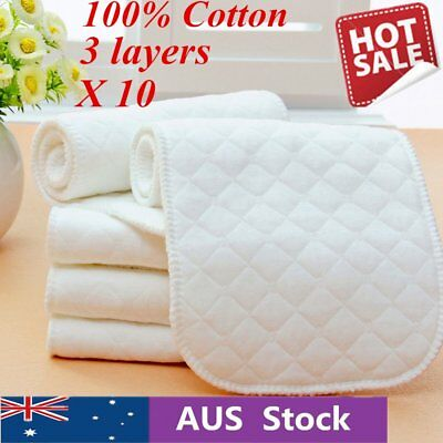 10 Pieces Reusable Pure Cotton Baby Cloth Diaper Nappy Liners Insert 3 Layers VN