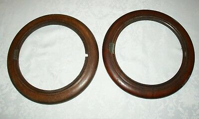 2 x Antique Round Mahogany Wall Clock Face Surrounds, Spares/Repair