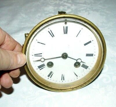 Antique Mantel Clock  Movement With Enamel Face & Bezel, Spares/Repair