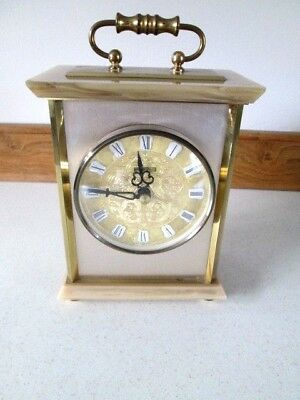 Vintage West German Mantel Clock By Blessing-Onyx & Gilt Metal-Quartz Movement.