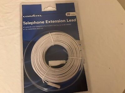 20m Long HQ Flat Slimline Telephone Phone Line Extension Cable BT Virgin Fax