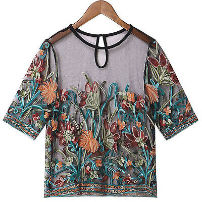 Plus Size Women O-neck Floral Embroidered Tops Short Sleeve Mesh T-Shirt Blouse