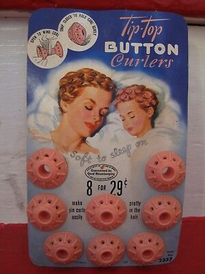 VINTAGE 1949 1950s TIP TOP Button Curlers for Pin Curls Long Bobs Pink Spoolies